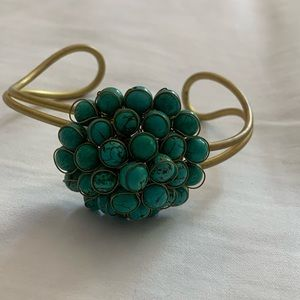 Gold Cuff Bracelet With Turquoise Beads